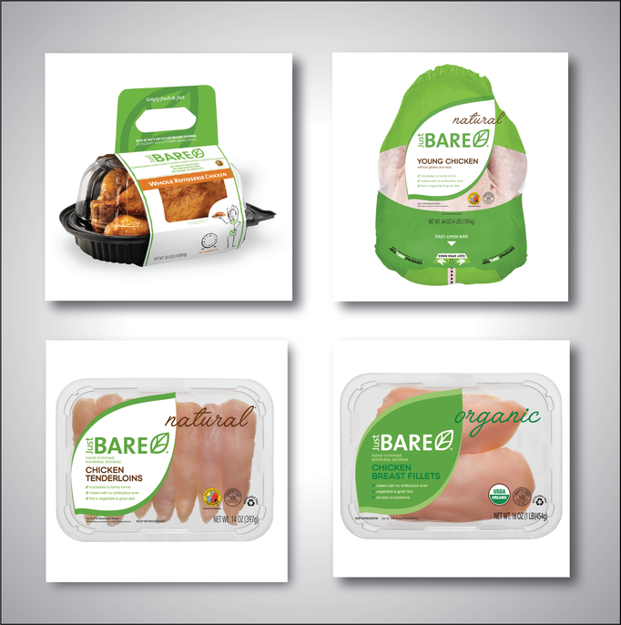 Creative Direction at Pilgrims Chicken. New branded look to Just BARE Chicken packaging.