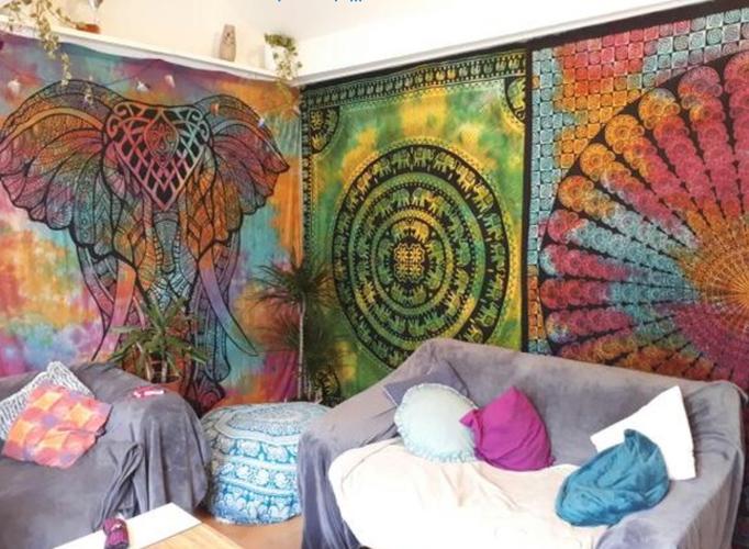 Bunte Wandtücher mit Elefant und Mandala