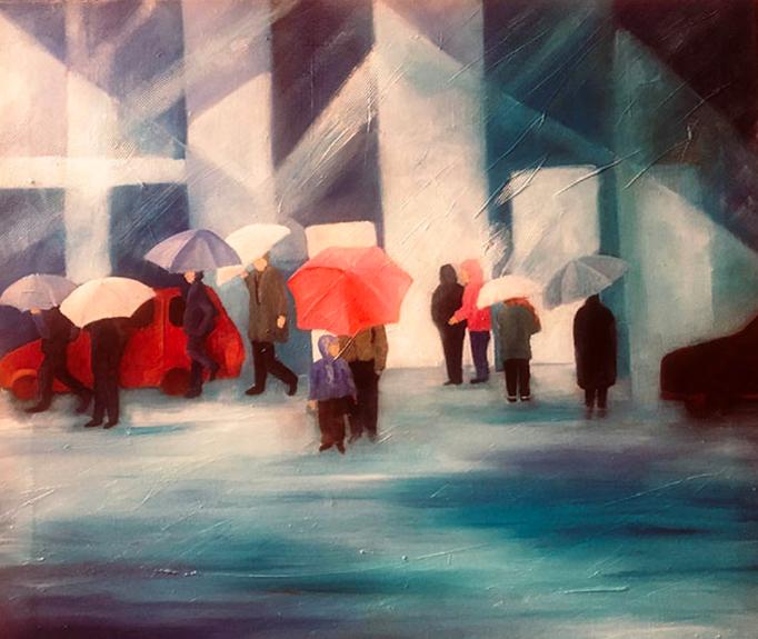 Im Regen  |  Mixed Media auf Leinwand  |  50 x 50 cm  |  2021