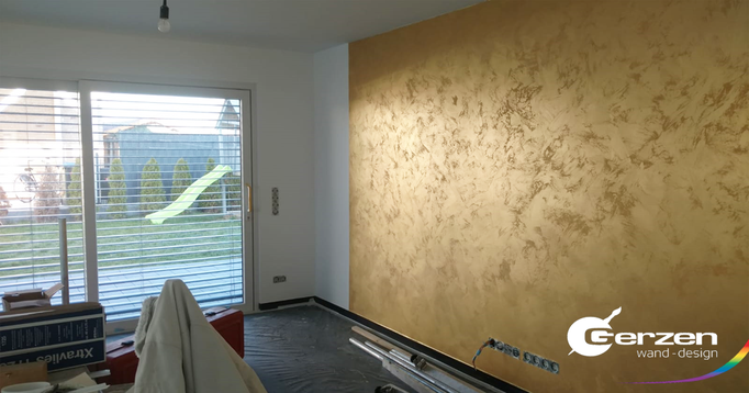 Spachteltechnik in Gold - Stucco Veneziano Gold von GERZEN wand-design