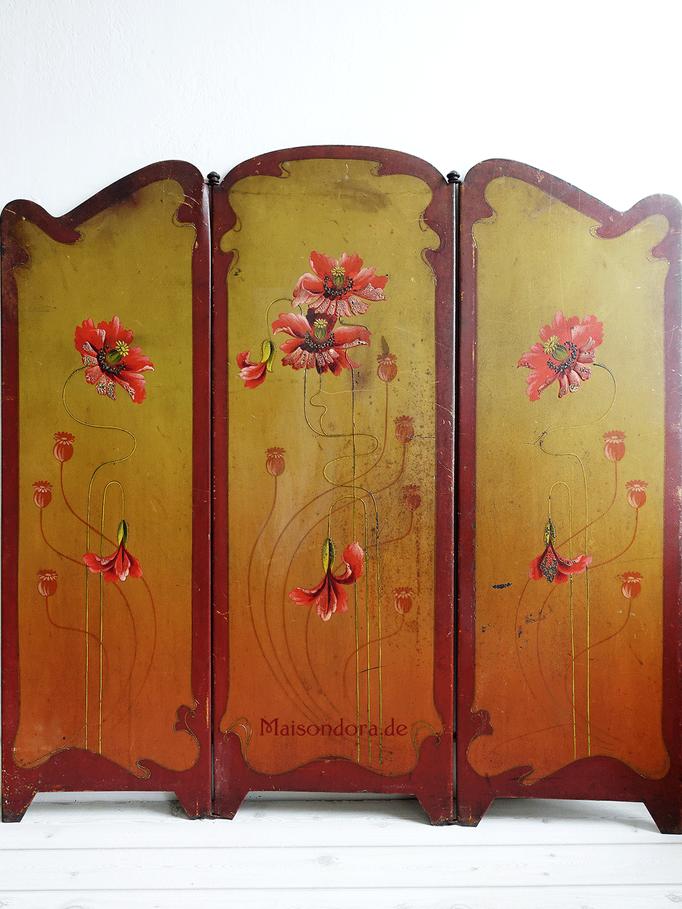 Antiker Ofenschirm Paravent Metallblech mit Mohn Art Nouveau 1905