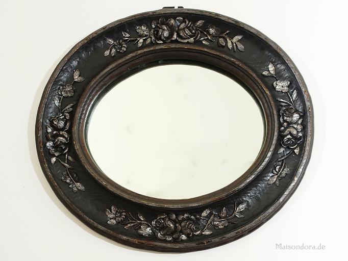 Antiker Spiegelrahmen mit geschnitztem Rosen-Relief