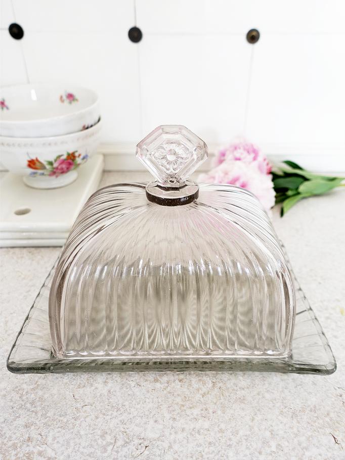 Art Deco Butterglocke Rauchglas
