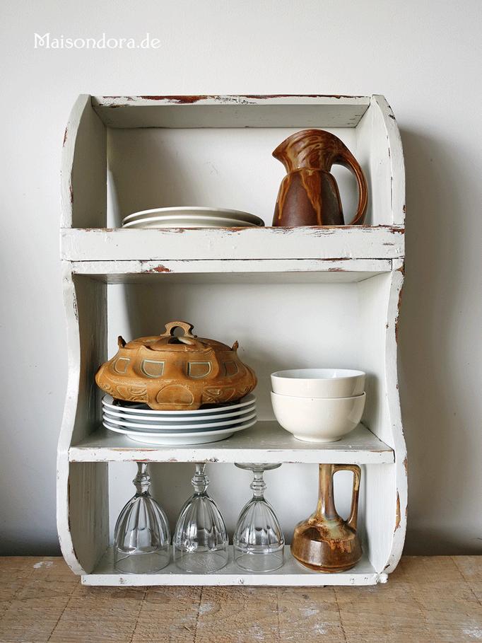 Antikes Küchenregal Gewürzbord Shabby weiss