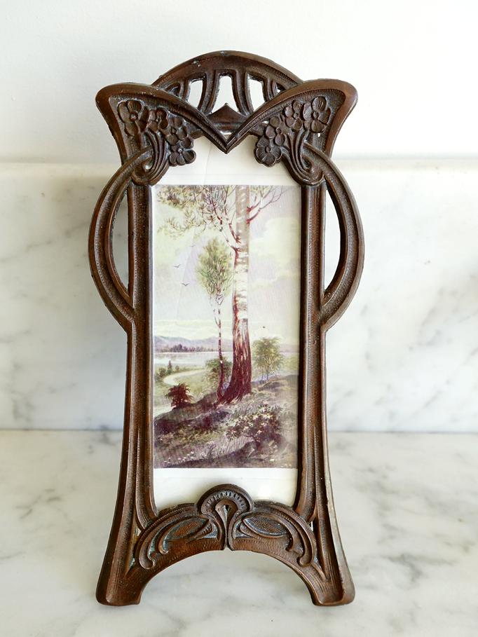 Art Nouveau Foto Standrahmen Kupfer
