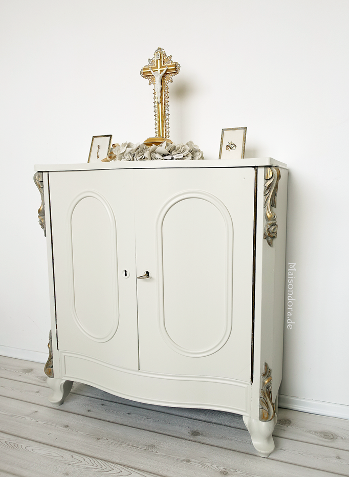 Antike Kommode Louis Philippe Shabby weiss gold