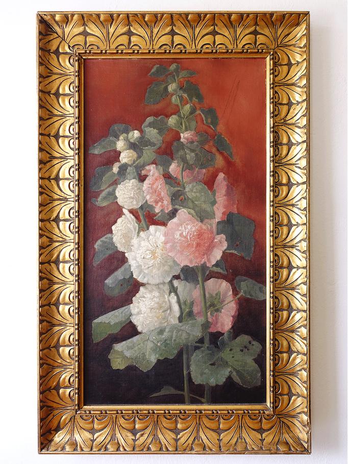 Antikes Jugendstil Gemälde Blumenstillleben Malven im Goldrahmen