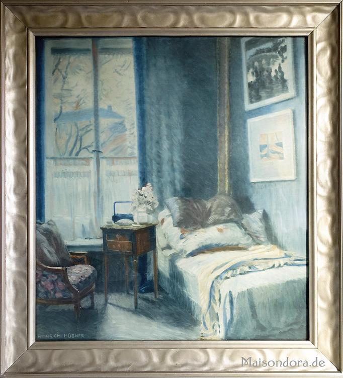 Antiker Druck Hübner Blaues Zimmer