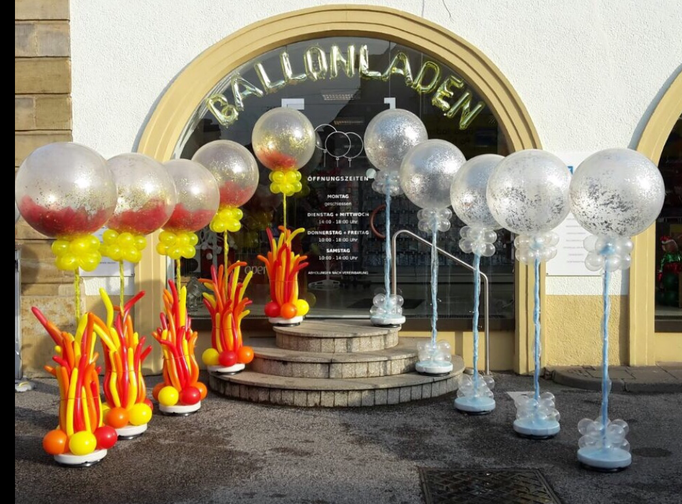 Verschieden Ballonsäulen zum Thema Feuer und Eis. Stadtmarketing Coburg.