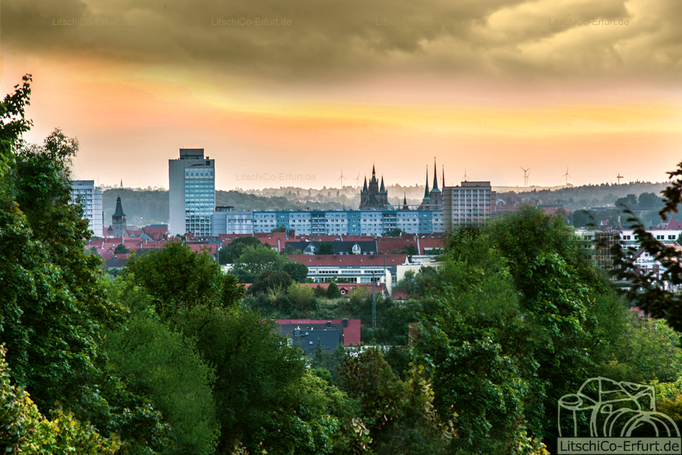 Sonnenuntergang über Erfurt, Thüringen