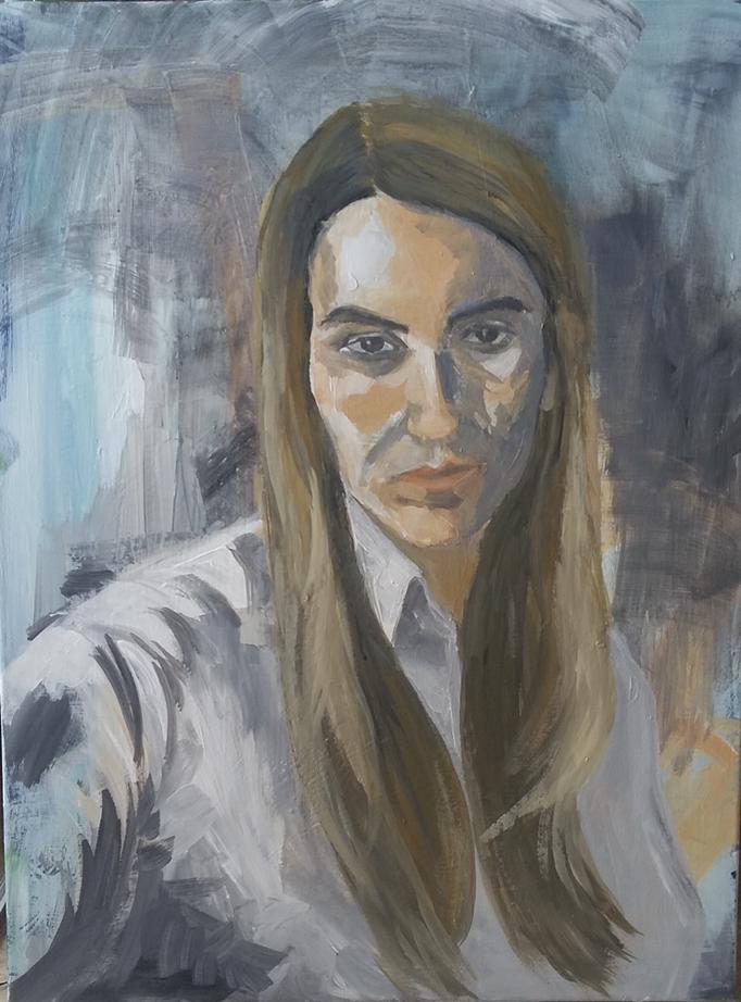 Schritte des seelischen Verfalls, 80 x 60 cm, Acryl auf Leinwand, 2017.