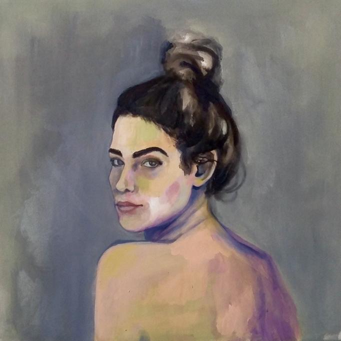 Porträt einer Frau, 70 x 70 cm, Acryl auf Leinwand, 2018.