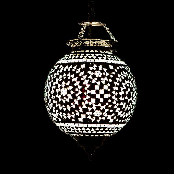 Oosterse Hanglamp mozaik zwart wit