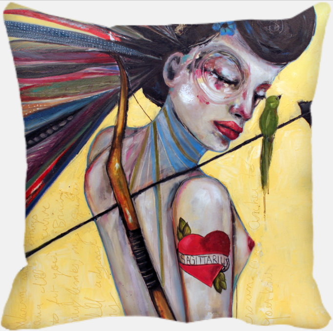 "Yvette the Sagittarius    12x12  Printed Pillow <a href=""https://squareup.com/store/hilliard-gallery/item/yvette-the-sagittarius-1"" class=""sq-embed-item"">Buy Now</a> <script src=""https://cdn.sq-api.com/market/embed.js"" charset="""