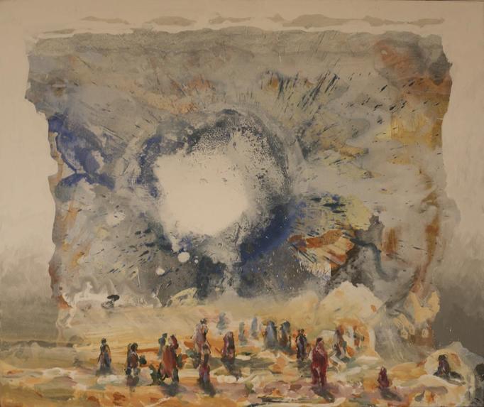 2017, Durch die Wand, 80x95, Acryl-Leinwand