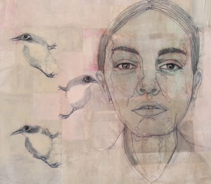 Birds Said - Les oiseaux ont dit / Oil on Paper 60 x 60 Cm  2015