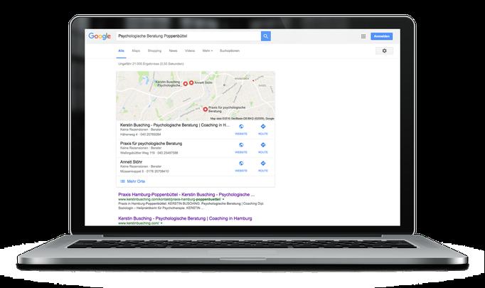 Google Suche mit Keywords *Psychologische Beratung Poppenbüttel* – Kerstin Busching - Psychologische Beratung | Coaching in Hamburg