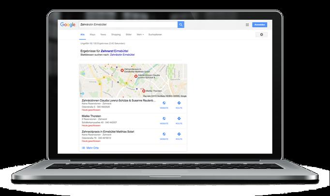 Google Suche mit Keywords *Zahnärztin Eimsbüttel* – Zahnärztinnen Claudia Lorenz-Schütze & Susanne Rautenberg in Hamburg-Eimsbüttel