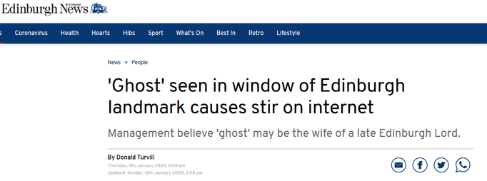 Headline Edingburgh Evening News #Lauriston #paranormal #ghost #ghosthunter