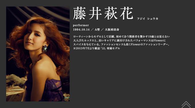 FLOWERオフィシャルサイトにてメンバー藤井萩花さんのプロフィール写真にて着用