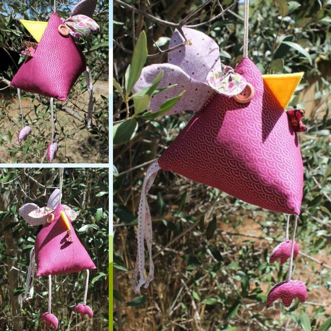 3- Poule déco : tissus coton, boutons bois, dentelle, taille 20 cm ht * 17 cm L (sans les pattes et la queue) : 25 €
