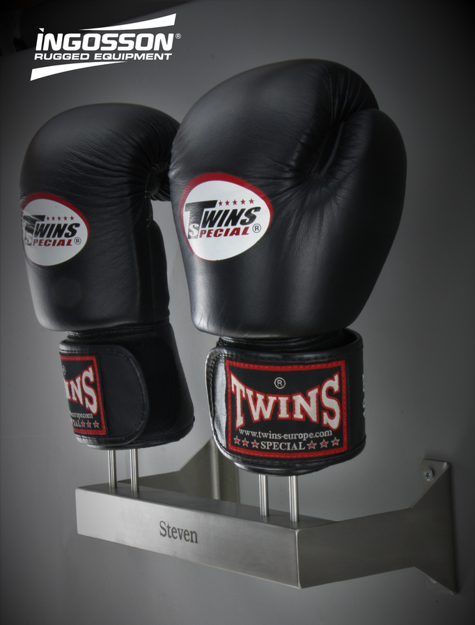 Twins boxing gloves with wall mounted rack