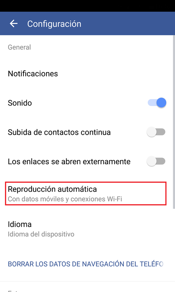 Desactivar videos automaticos en Facebook