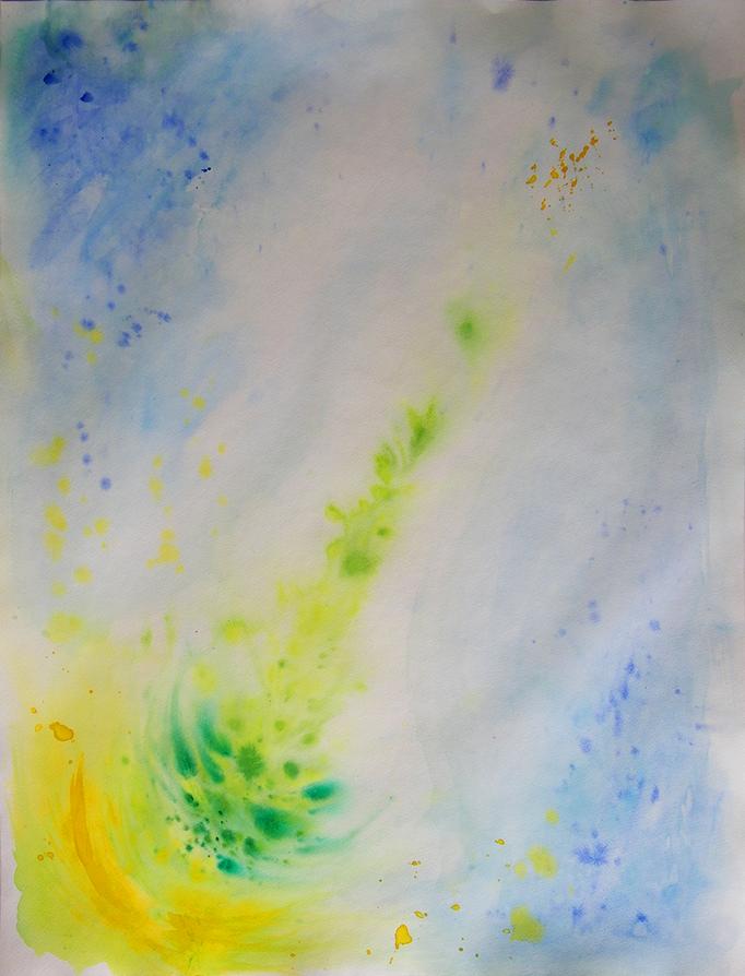 Abstracte interpretatie van een boom in de lente - aquarelverf