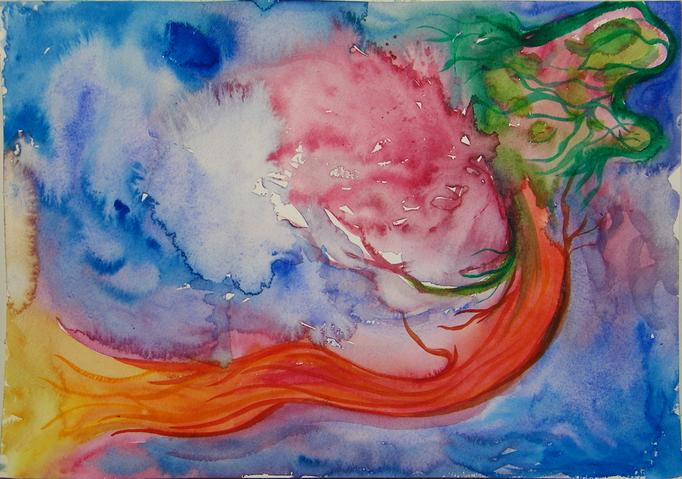Intuitief schilderij gemaakt vanuit het thema 'voelen' - aquarelverf