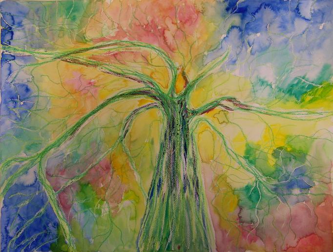 Abstracte interpretatie van een boom in de lente - aquarelverf en oliepastelkrijt