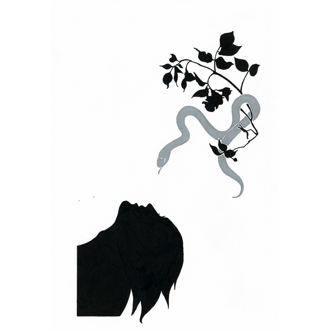 "Buchillustration für ""Der goldene Topf"" (E.T.A. Hoffmann) | Tools: Tusche, Gouache, Feder, Pinsel, Karton"