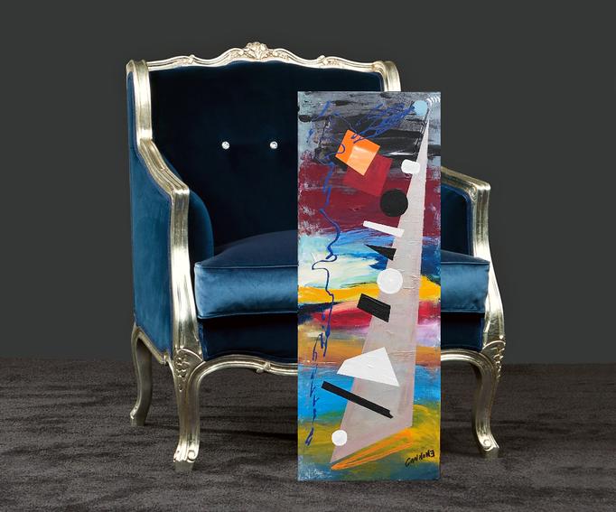 Suono, forme e colori -  acrilico su tela 80x30x2  in ambiente virtuale
