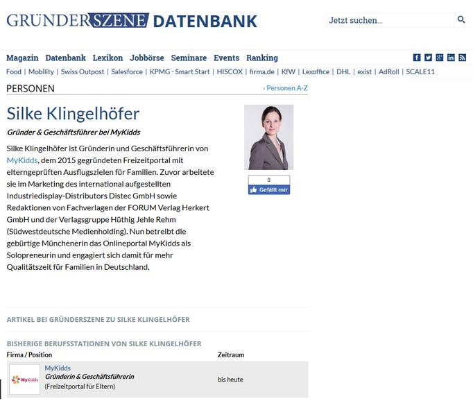 Presseartikel & Datenbankeintrag Gründerszene