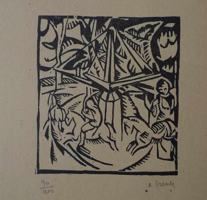 Tresch, le manège, bois, album Ziniar, nov.20, 141x126