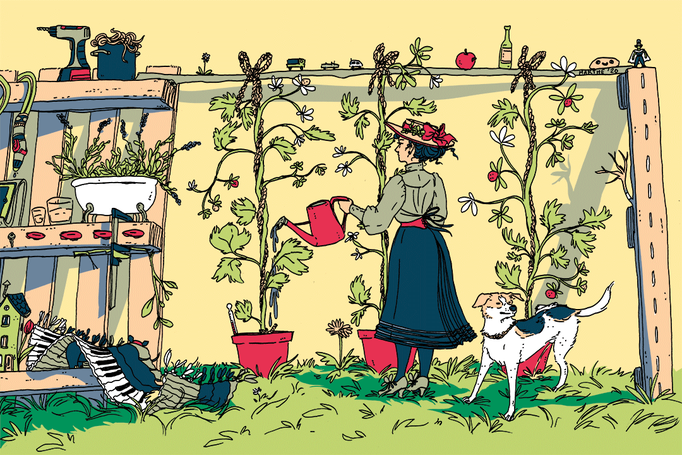 """Weeks of gardening, 2020 - Part of the Am Gronn """"The best is yet to come"""" postcard set. The co-working space Am Gronn asked its artists if they could create a postcard for them to sell and stay afloat during the financial crisis induced through lockdown."""