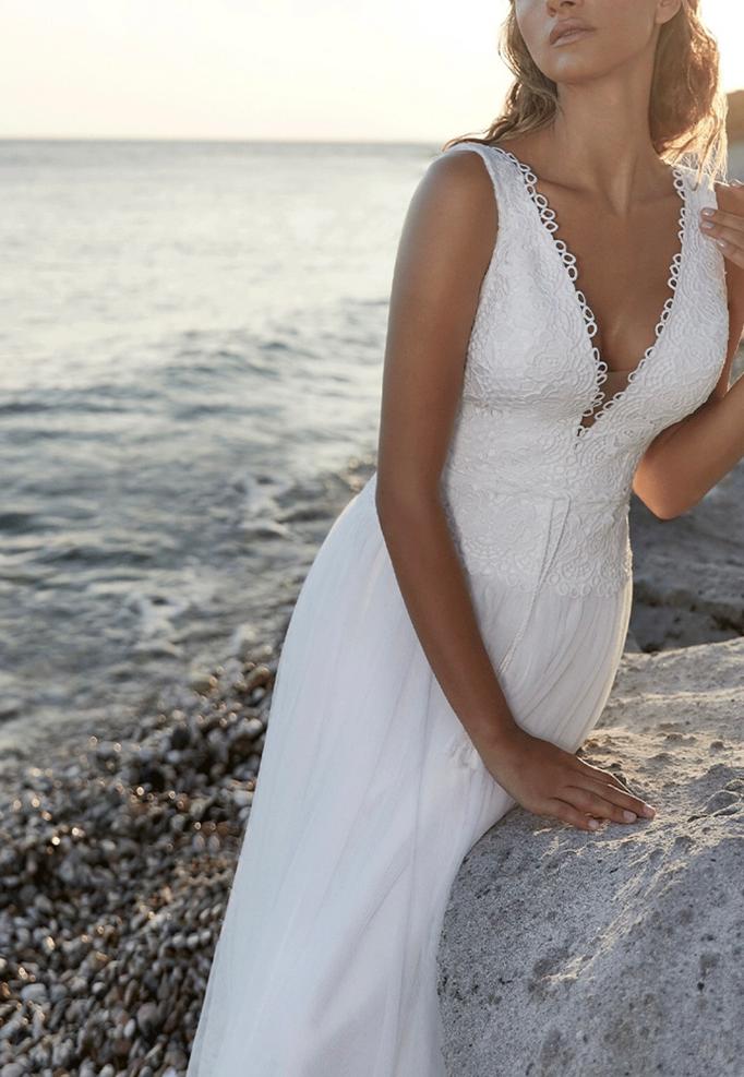 Brautkleid Makrame Spitze, geometrische Spitze, Tüllrock,  Boho, Strandhochzeit