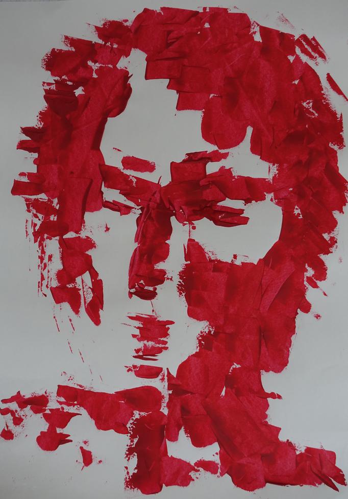 Johanna Schott // Kopf 6 // Acryl auf Papier // 21 x 9,7 cm // 2018
