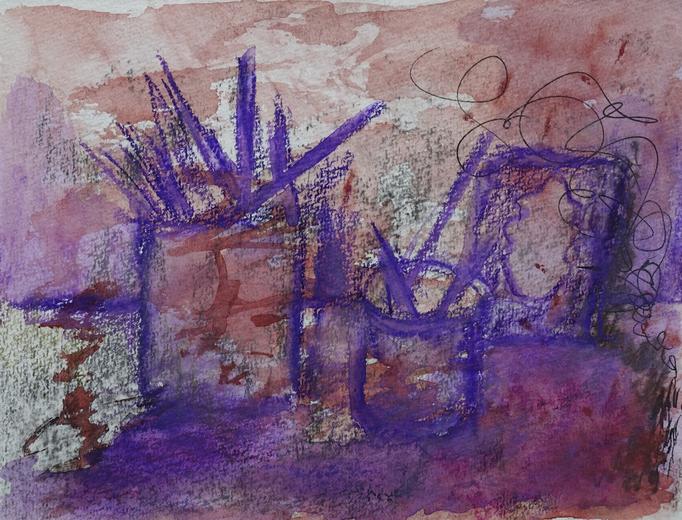 Johanna Schott // Glas mit Pinsel // Aquarell-Ölkreide auf Papier // 14,7 x 19,5 cm // 2017