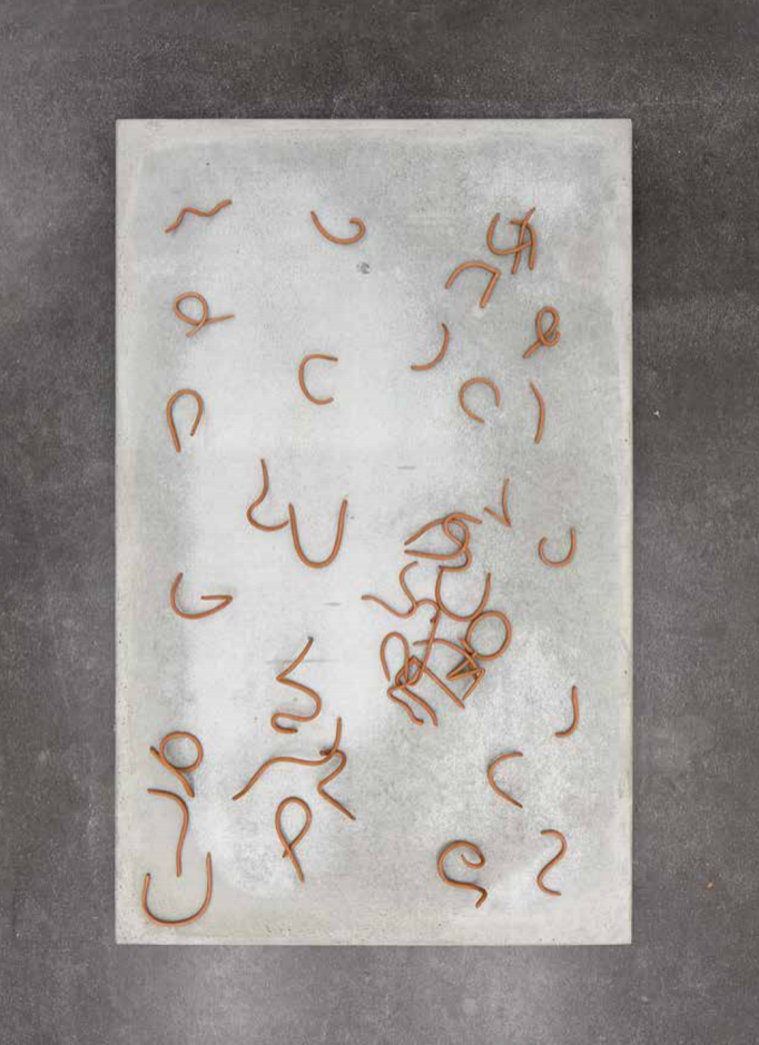 Ohne Titel I, Beton, Eisenoxid, Keramik, 62,5 × 100 cm, 2017