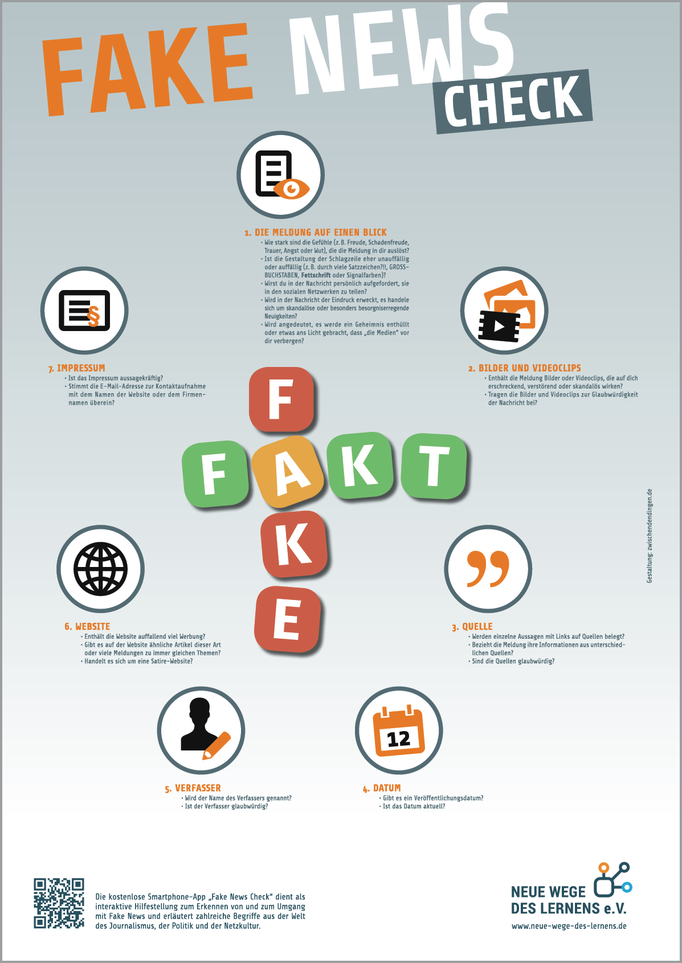 Fake-News-Plakat für den Verein Neue Wege des Lernens e. V.