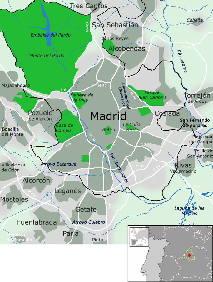 Área metropolitana de Madrid.
