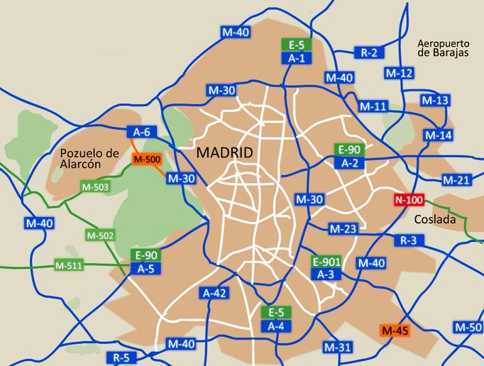 Accesos de Madrid. Cinturón radial de carreteras nacionales.