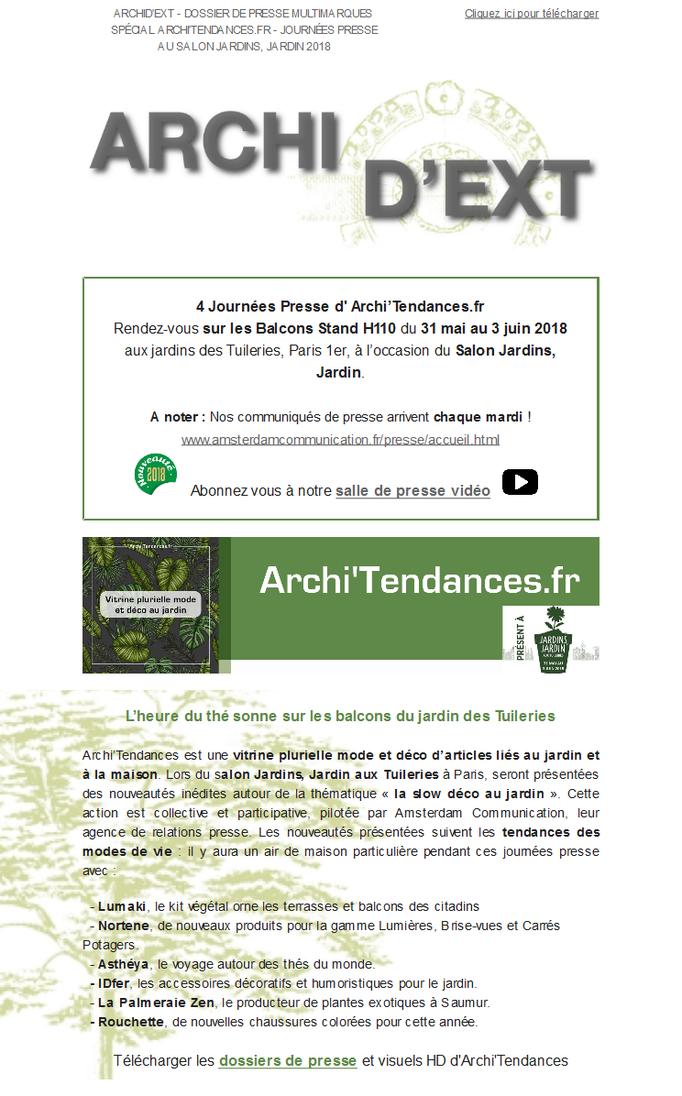 Archid'Ext, spécial Salon Jardins Jardin 2018 - Les journées presse d' Archi'Tendances.Fr