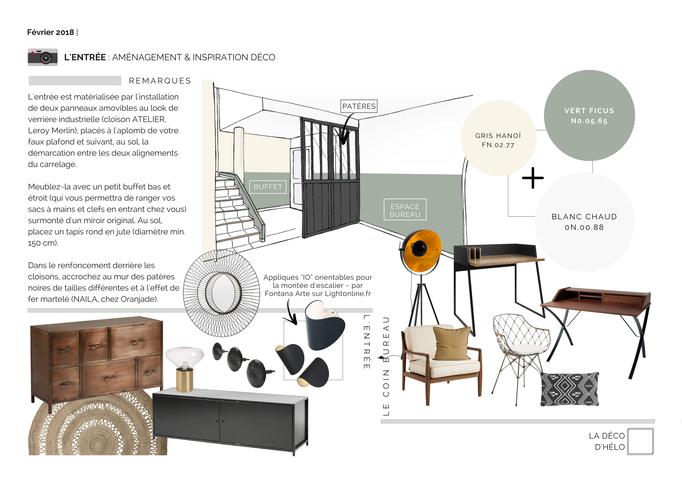 Coaching Déco Grenoble : Références Peintures Murales et Inspiration mobilier & déco pour l'entrée et l'espace bureau/lecture