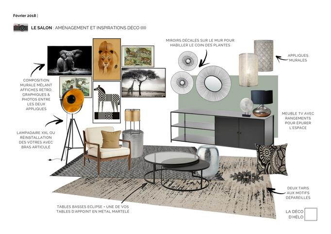 Coaching Déco Grenoble : Planche d'inspiration Mobilier, Luminaires, Textiles et Petite Décoration pour le séjour