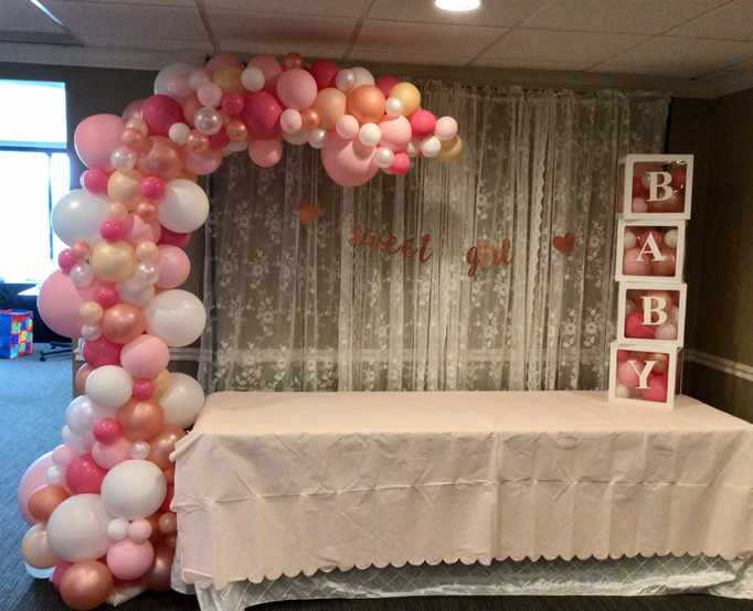 Air-Filled Balloon Organic Demi Half Arch Pink White Gold