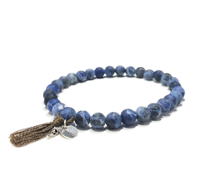 sodalite silk tassel sterling silver stones semi precious earthy beads beaded stretch mens bracelet natural hippy wook utah USA America small business masculine new jersey local unique