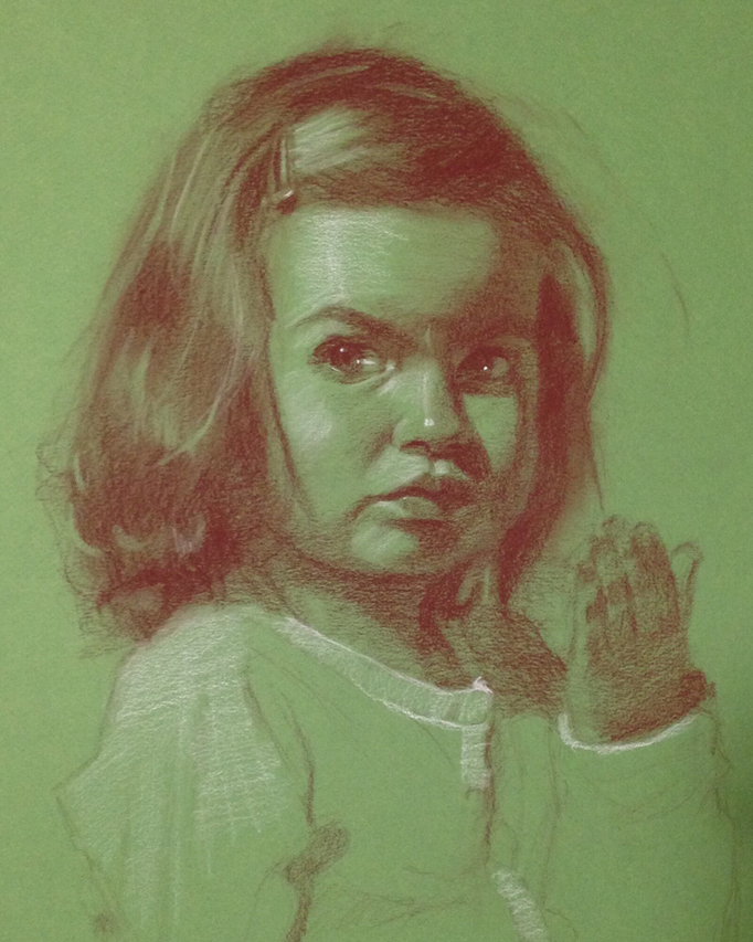 """Portrait of a Girl"" Pitt pastel and white charcoal on paper 12x18 inches"