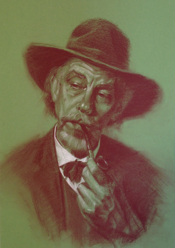 """Man With a Pipe""  Pitt pastel and white charcoal on paper 12x18 inches"