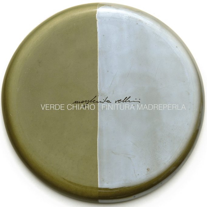 Color sample LIGHT GREEN and PEARLY SURFACE FINISH Margherita Vellini - Ceramic Lamps -  Home Lighting Design - Made in Italy